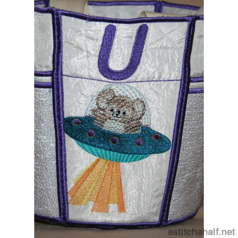 Fuzzy Bucket Tote S T U Applique