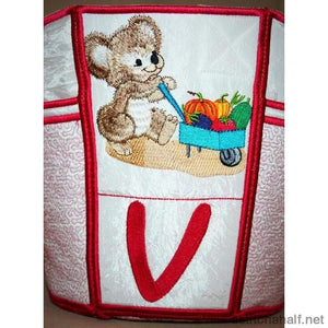 Fuzzy Bucket Tote V W X Applique