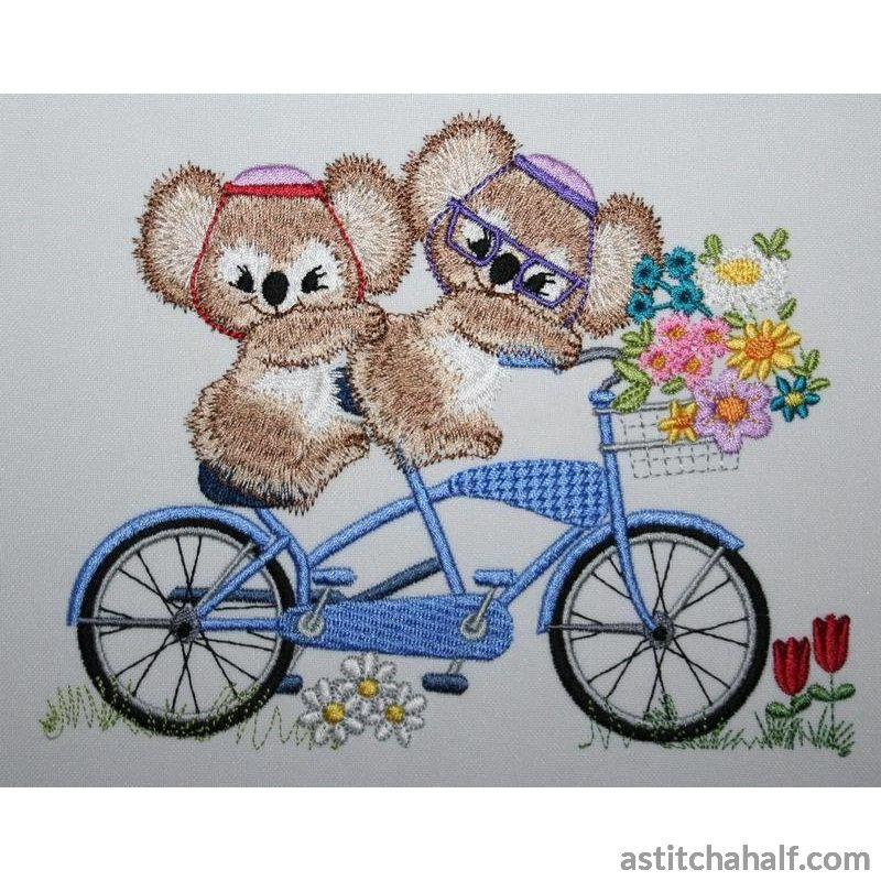 Fuzzy Jacob and Emma on Tandem Bicycle - a-stitch-a-half