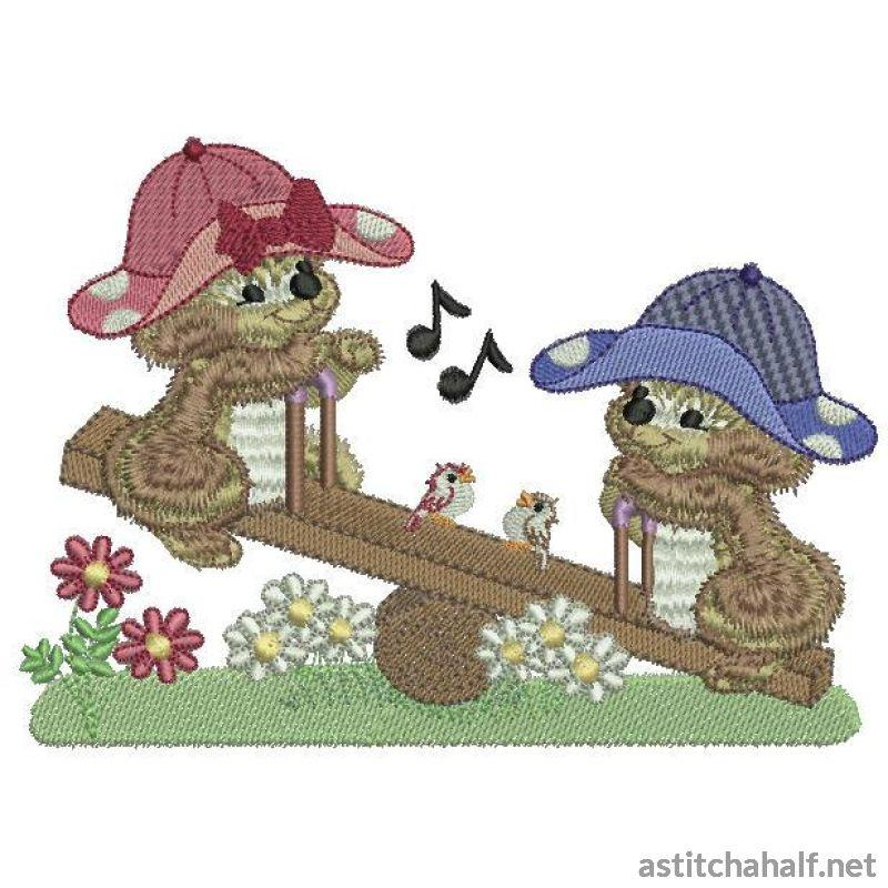 Fuzzy Jacob And Emma On The Teeter Totter Embroidery Fill