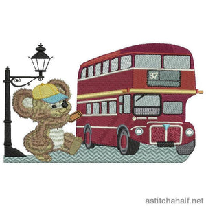 Fuzzy Oliver At A Red London Bus Embroidery Fill