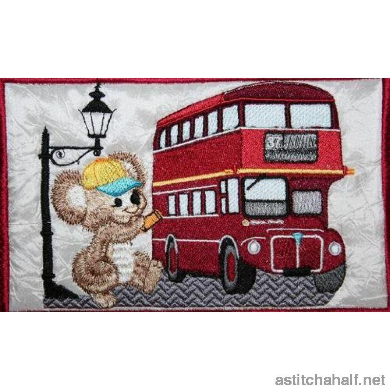 Fuzzy Oliver at a Red London Bus - a-stitch-a-half