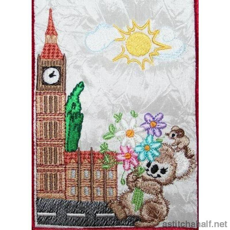 Fuzzy Oliver at Big Ben in London - a-stitch-a-half