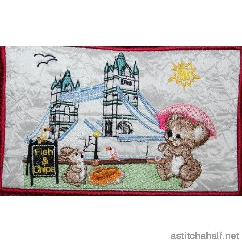 Fuzzy Olivia at the Tower Bridge - a-stitch-a-half