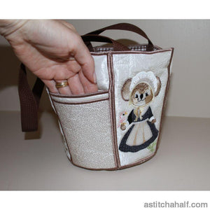 George And Martha Fuzzy Bucket Tote Applique
