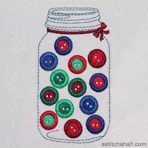 Glass Jar With Buttons Embroidery Fill