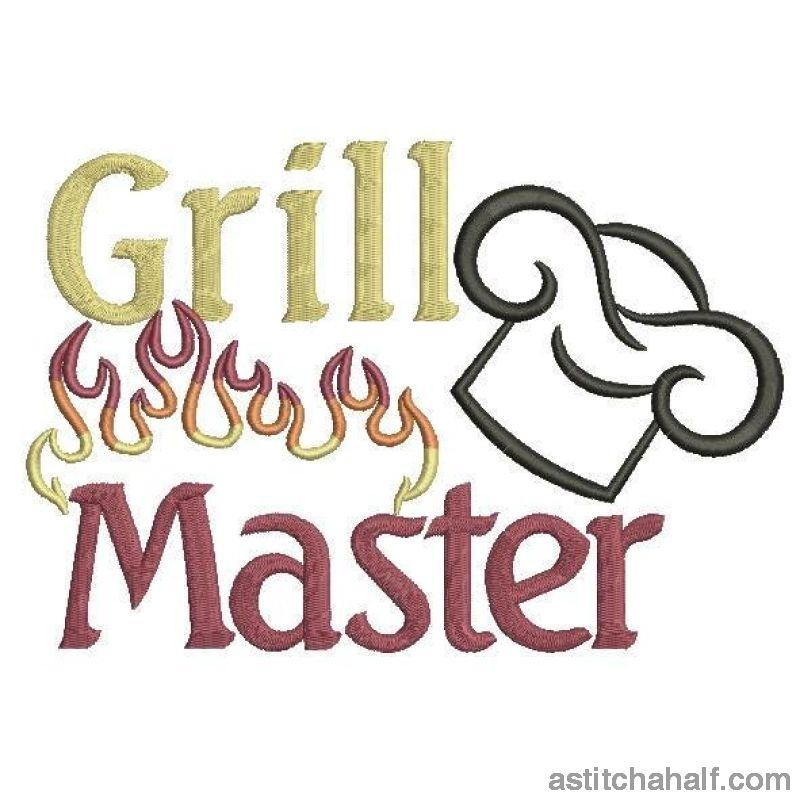 Grill Master Flames Embroidery Fill