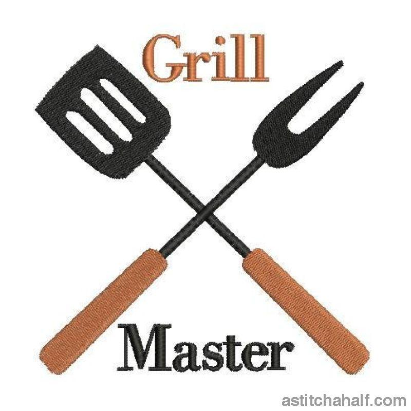 Grill Master Utensils Embroidery Fill