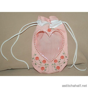 Heart Peek a Drawstring Bag - a-stitch-a-half
