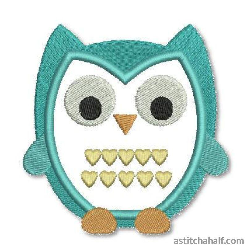 Hearts Owl Embroidery Fill