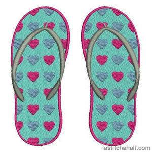 Hearty Flip Flops Embroidery Fill