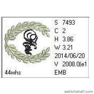 Hers Wreath Monogram - a-stitch-a-half