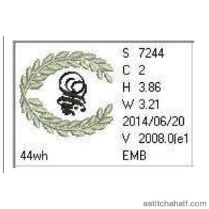 His Wreath Monogram Embroidery Fill