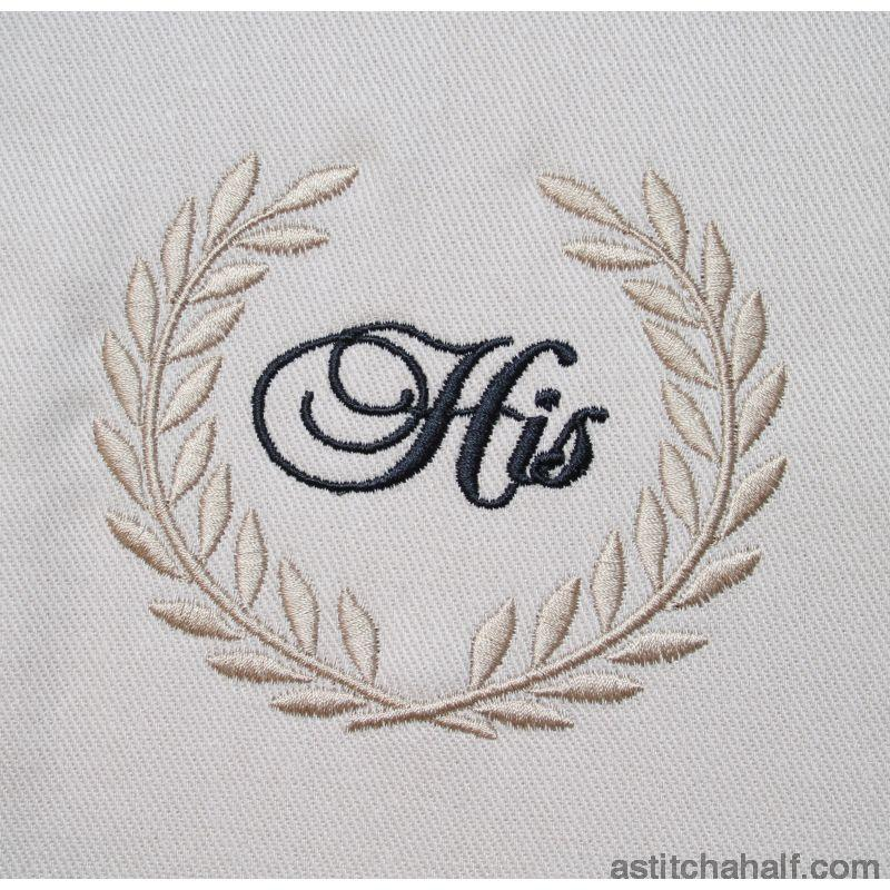 His Wreath Monogram - a-stitch-a-half