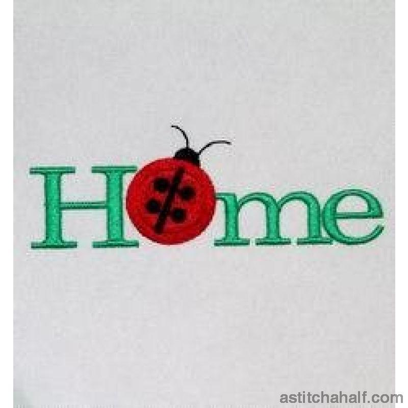 Home Ladybug Button Embroidery Fill