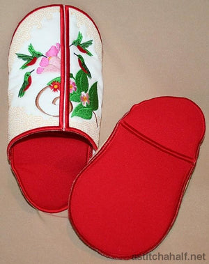 Humming Birds Slippers - a-stitch-a-half