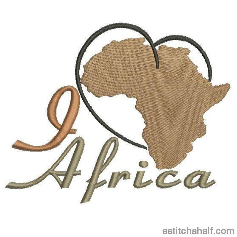 I Love Africa Embroidery Fill