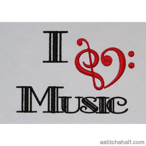 I Love Music Embroidery Fill