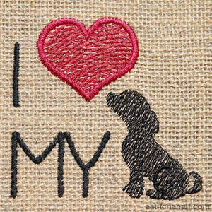I Love My Dog Applique