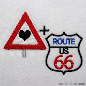 I Love Route 66 Embroidery Fill
