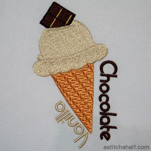 Ice Cream Vanilla And Chocolate Embroidery Fill