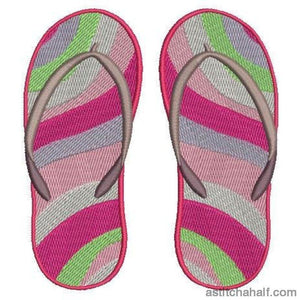 Island Waves Flip Flops Embroidery Fill