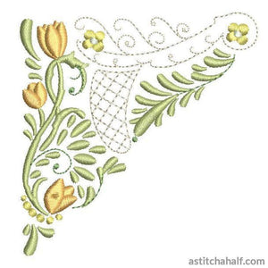 Lacy Corner with Tulips and Daisies Combo - a-stitch-a-half