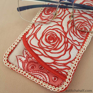 Lady In Roses Eyeglass Case In The Hoop