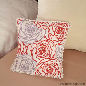 Lady In Roses Pillow Quilt Embroidery Fill