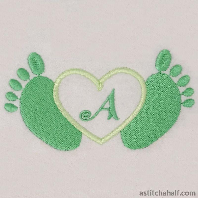 Little Toes in Heart with Alphabet - aStitch aHalf