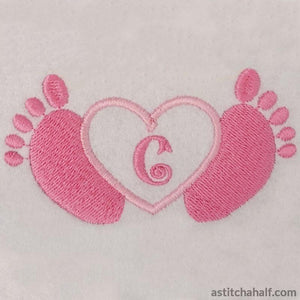 Little Toes In Heart With Alphabet Monograms And Fonts