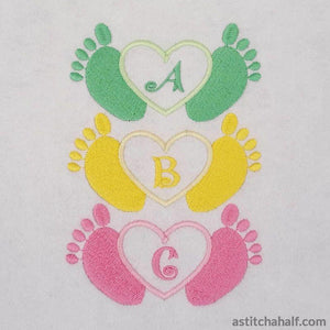 Little Toes in Heart with Alphabet - a-stitch-a-half