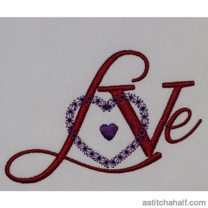 Love With Satin Heart Embroidery Fill