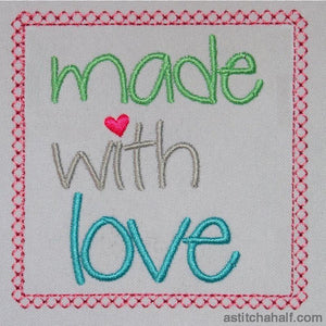 Made With Love Block Embroidery Fill