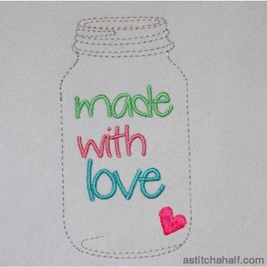 Made with love Mason glass jar - a-stitch-a-half