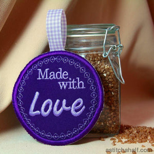 Mason Glass Jar Filled With Hearts Embroidery Fill