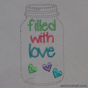Mason Glass Jar Filled With Love Embroidery Fill