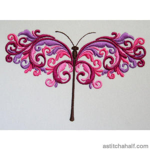 Mauve Dragonfly Embroidery Fill