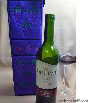 Merlot Wine Bottle Tote - a-stitch-a-half