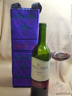 Merlot Wine Bottle Tote Applique
