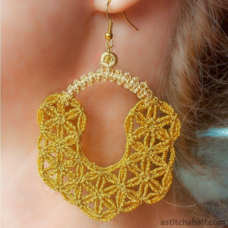 Moroccan Freestanding Lace Earrings - a-stitch-a-half