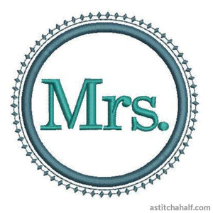 Mrs In Embroidery Applique