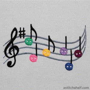 Music Buttons Embroidery Fill
