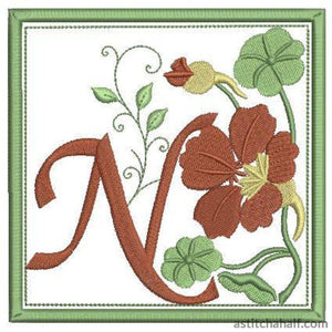 N For Nasturtium Embroidery Fill