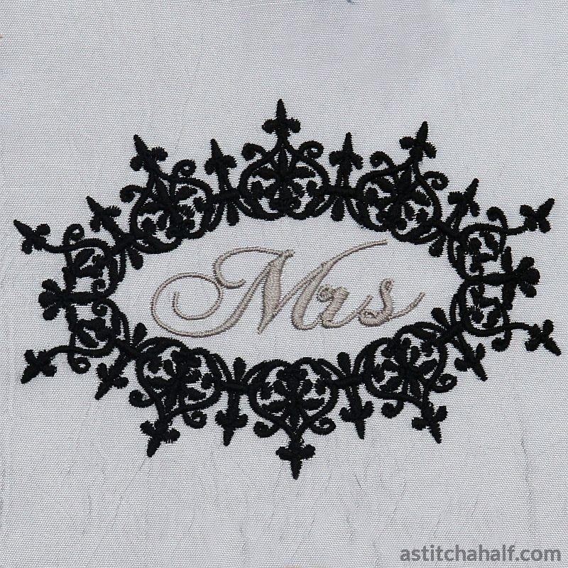Nottingham Filigree Mr And Mrs Embroidery Fill