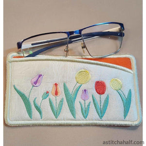 Oodles of Tulips Eyeglass Case - a-stitch-a-half