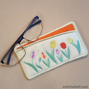 Oodles Of Tulips Eyeglass Case In The Hoop