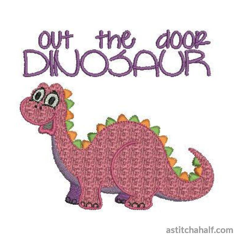 Out The Door Dinosaur Embroidery Fill