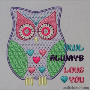 Owl Always Love You Embroidery Fill