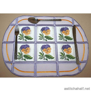 Pansy Placemat - a-stitch-a-half